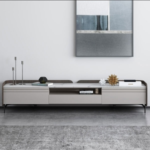 Modernized White Glossy Polished Marble TV Stand with Large Drawers