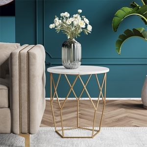 """Nordic Marble Side Table 18"""" with Stainless Steel Electroplated Frame"""
