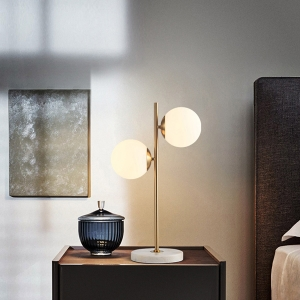 Nordic 2-Light Table Lamp with Electroplated Iron Frame and Marble Base