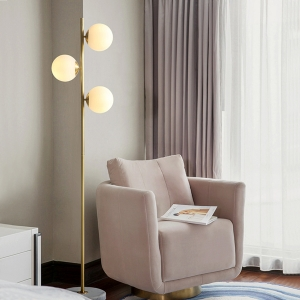 Nordic Floor Lamp 3-Light with Electroplated Metal Frame
