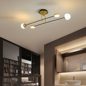 Nordic Dimmable Semi-Flush Mount Ceiling Light with Baking Paint Iron Frame and Glass Cover