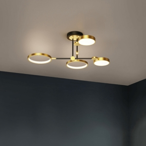Nordic Dimmable Semi-Flush Mount Ceiling Light with Baking Paint Iron Frame