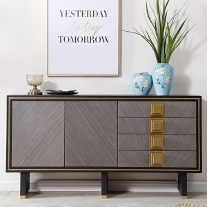 Nordic Tempered Glass Sideboard with Gold Stainless Steel Electroplated Frame