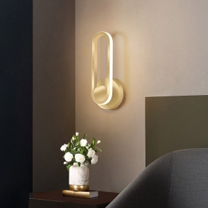 Nordic Oblong LED Wall Light with Lacquer Metal Base Sconce for Bedroom