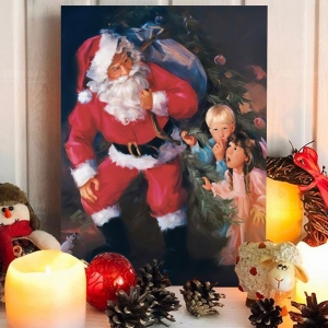 Classic Style Wall Art Oil Painting Finding Santa Clause Wall Decor
