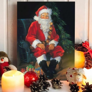 Classic Wall Art Vertical Oil Painting Santa Claus' Watching Wall Decor