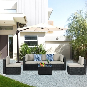 Outdoor Patio Sofa Set with 6 Pieces in Metal Frame for Porch Lawn Garden