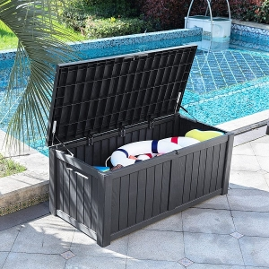 Outdoor Storage Deck Box Resin Patio Storage Lockable with Outdoor Pillows