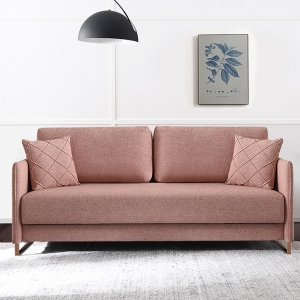 Contemporary Faux Linen Cushion Sleeper Sofa Bed for Living Room