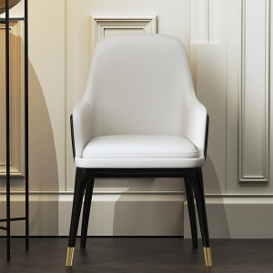 Post-modern Dining Chair with Gray Leather Solid Wood Frame and Legs