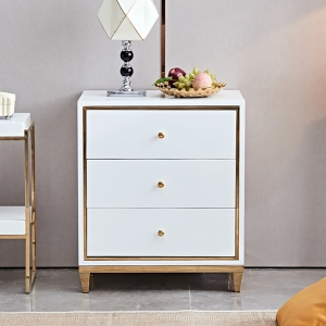 """Post-modern MDF Chest of Drawers Cabinet 20"""" with Gold Stainless Steel Electroplated Frame and Handles"""