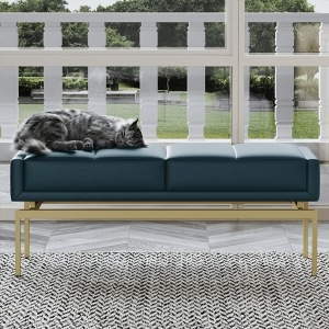 """Post-modern Microfiber Leather Sofa Storage Bench 47"""" with Stainless Steel Electroplated Frame"""