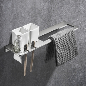 Post-modern Towel Rack Wall Mount with Shelf and Grooves Towel Bar