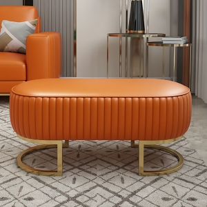"""PU Leather Bench 47"""" Minimalist Orange Sofa Bench Living Room Ottoman with Stainless Steel Frame"""