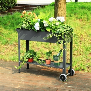 Rustic Raised Garden Bed Wheeled Raised Planter with Bottom Shelf for Tool Storage