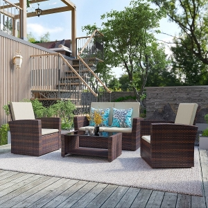 Outdoor 4 Pieces Rattan Wicker Sofa Patio Couch Cushioned Sectional Set