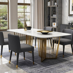 Luxurious Rectangle White Marble Top Dining Table with Dual Pedestals
