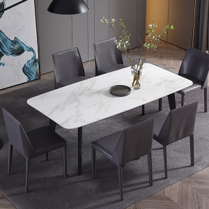 Contemporary Rectangle Polished Marble Top Metal Legs Dining Table