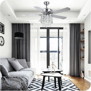 Yitahome Contemporary Remote LED Ceiling Fan Chandelier with Control Crystal Lampshade in Chrome