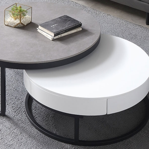 Natasha Classical Nesting Coffee Table Set 2 Piece with Round Fine Marble