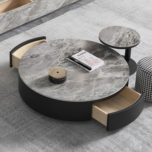 Contemporary Coffee Table Set with Round Well-Made Marble 2-Piece