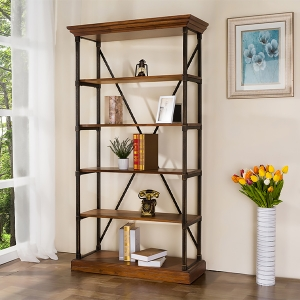 """Rustic Solid Wood Bookshelf 75"""" with Black Iron Frame"""