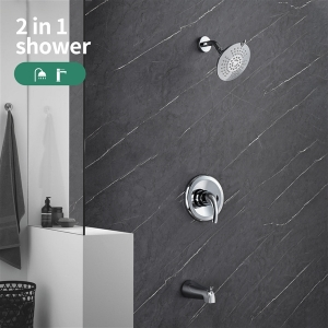 YITAHOME Shower Set High Pressure Wall Mounted Tub Spout 6-Setting Rain Shower System Chrome