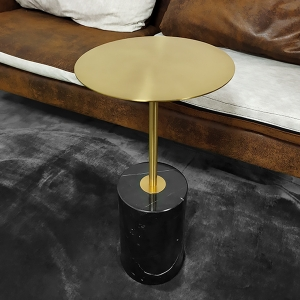"""Simple Stainless Steel Side Table 20"""" with Faux Marble Base"""