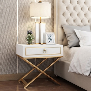 """Simple MDF Board Bedside Table Nightstand 20"""" with X-Shaped Gold Frame"""