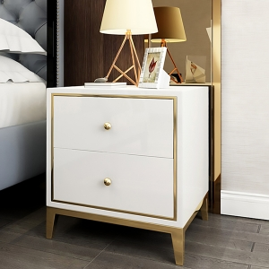 """Simple Glossy MDF Board Bedside Table Nightstand 20"""" with Stainless Steel Frame"""