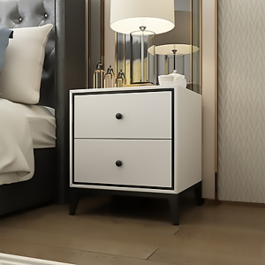 """Simple White MDF Board Bedside Table Nightstand 20"""" with Black Frame"""