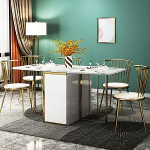 Stylish Marble Drop Leaf Rectangle Functional Dining Table