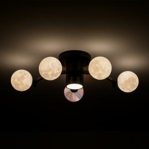 Romantic Semi-Flush Ceiling Light with Moon Like Shades Ceiling Lamps