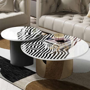 Stylish Coffee Table Set with Ripple Pattern Faux Marble Top and Metal Base