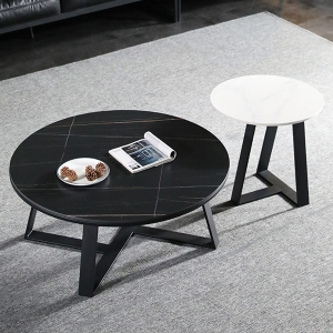 Natasha Stylish Round Coffee Table Set with Faux Marble Top and Metal Base