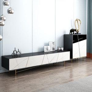 Contemporary Wood Top Marble Slate TV Stand for Living Room