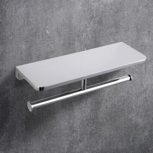 Traditional Wall Mount Toilet Paper Holder with Double-Post and Shelf