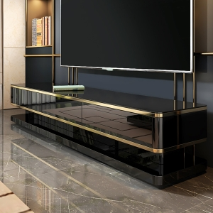 Luxurious TV Stand with Tempered Glass Table Top Stainless Steel Frames