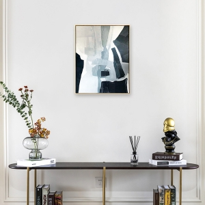 Natasha Wall Art Industrial Vertical Abstractionism Between White and Black Decor