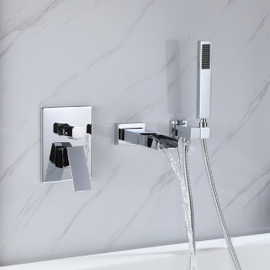 Contemporary 3-Hole Wall Mount Bathroom Bathtub Mixer Faucet with Waterfall Spout