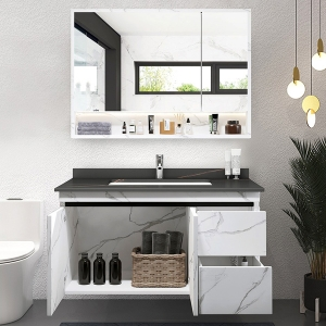 Luxurious Wall Mounted Bathroom Vanity Single Basin with Faux Marble Top