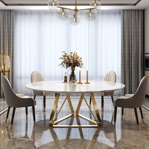 Classic Round Marble Table Top Dining Table with Stainless Steel Trestle