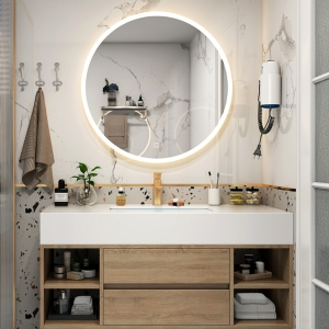 Minimalist White Bathroom Vanity Wooden Finish with Faux Marble Top