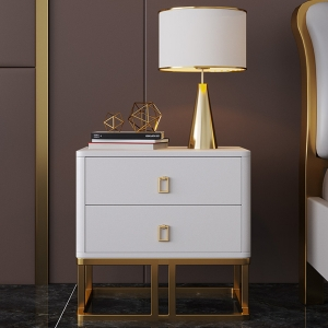 Nordic White Bedside Table Storage Stainless Steel Base Nightstand
