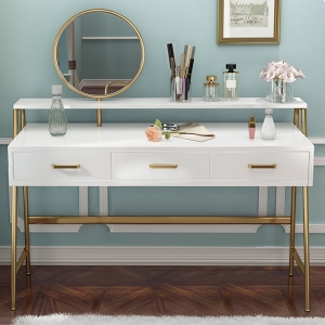 """Modern High-density Board Makeup Vanity Dressing Table 47"""" with Dressing Mirror and Stainless Steel Frame"""