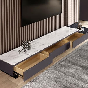 Nordic TV Stand with White Marble Tabletop and 3 Large Storage Drawers