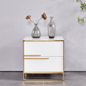 """Simple MDF Board Bedside Table Nightstand 20"""" with Gold Frame"""