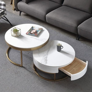 Classic Nesting Coffee Table Set with Round White Sintered Stone Top
