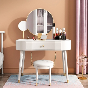 """Nordic Wood-based Panel Vanity Makeup Dressing Table 39"""" with 2 Mirrors"""