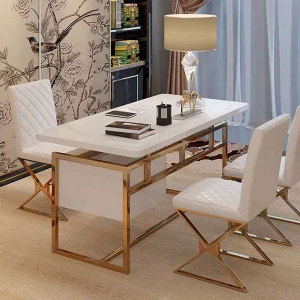 Luxury Rectangle White Wooden Double Drawers Writing Desk